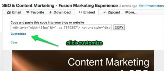 SlideShare for WordPress embed 2: Press the customize button