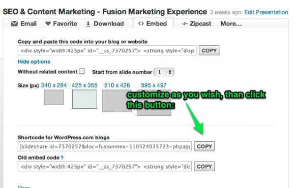 SlideShare for WordPress embed 3: Press the copy button