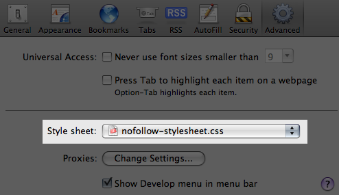 User Stylesheet Selection