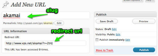 Creating a redirect with Simple URL's