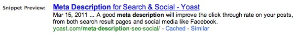 Snippet preview, including the meta description, from my WordPress SEO plugin