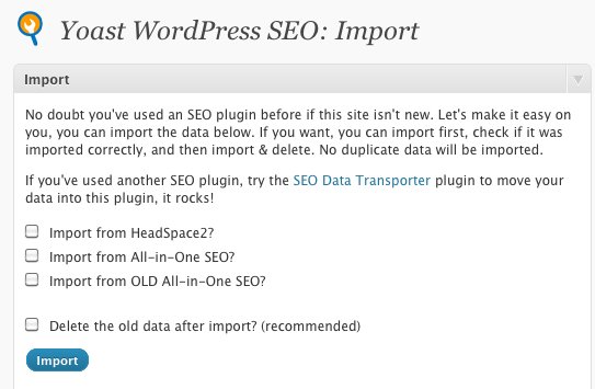 All In One SEO Pack Import