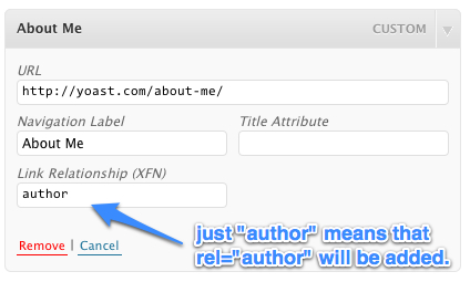 Custom Menu element, be sure to just add author, this will cause rel=author to be added to the link