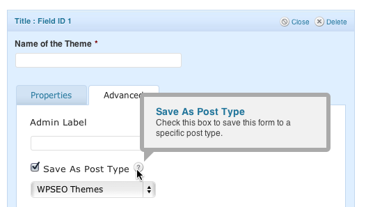 title field advanced section - save as custom post type
