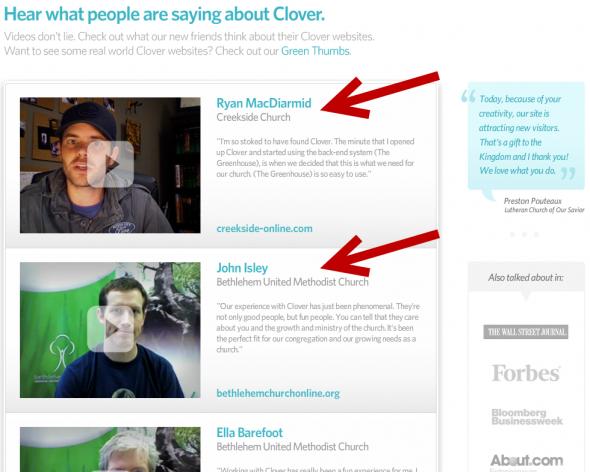 Testimonials as seen on cloversites.com