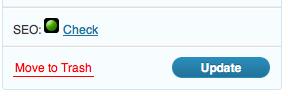 SEO Score shown inside the publish box
