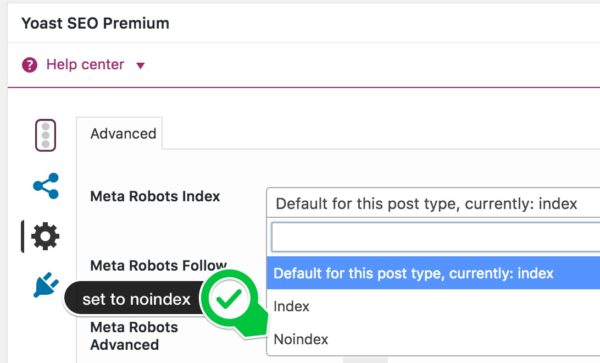 Yoast SEO noindex meta robots dropdown, used to noindex posts