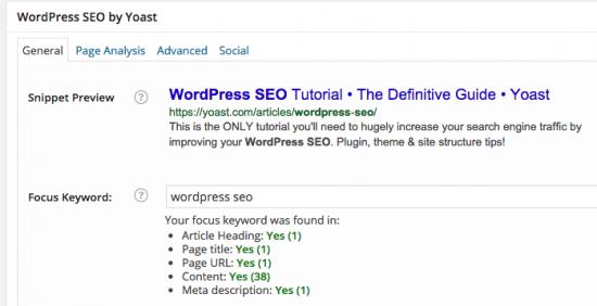 optimize wordpress article general tab