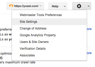 Webmaster Tools - Site Settings menu item