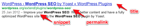 WordPress SEO result snippet