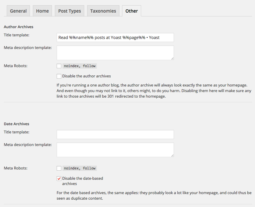 wordpress seo title settings other