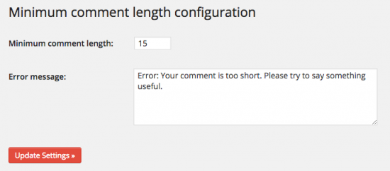 Minimum comment length configuration screenshot