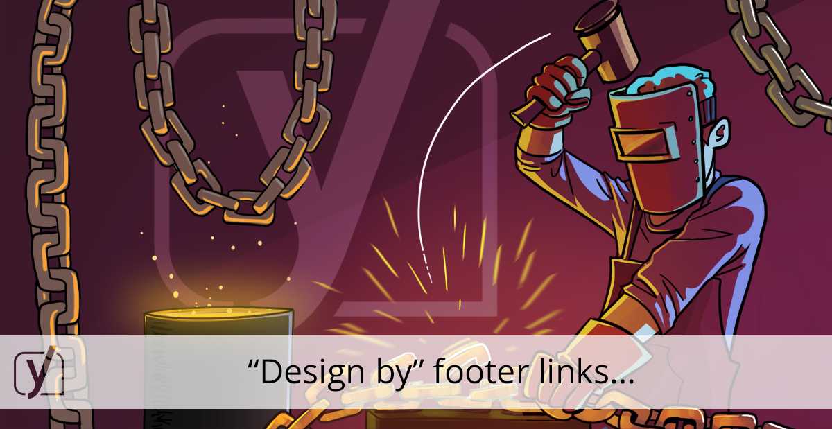 Footer links 'design by', 'developed by' - Yoast