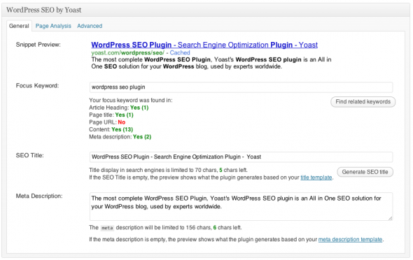 WordPress SEO plugin - snippet preview