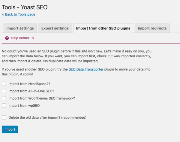 import from all-in-1-SEO to Yoast SEO