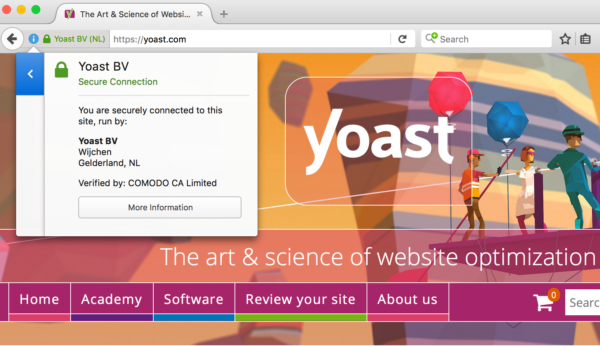 SLL certificate information at yoast.com