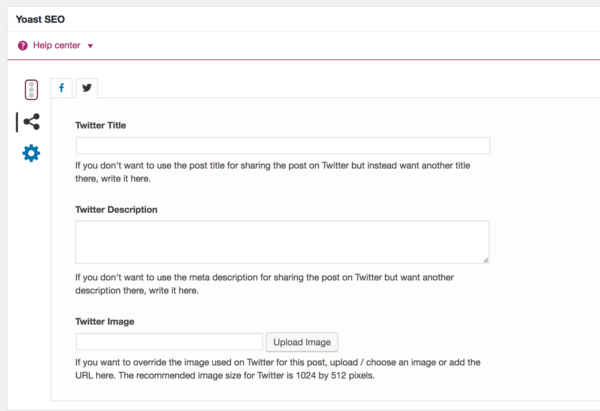 Twitter Card settings in Yoast SEO