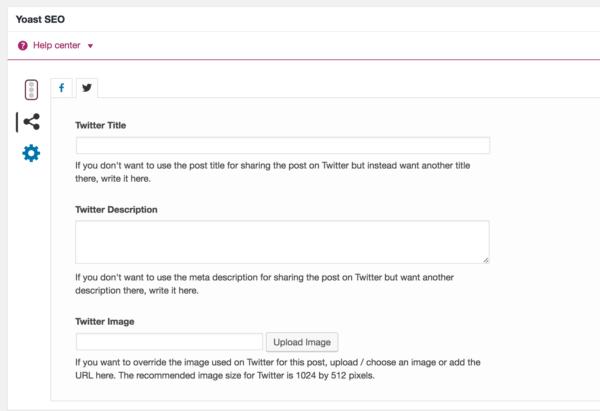Twitter Card settings in Yoast SEO