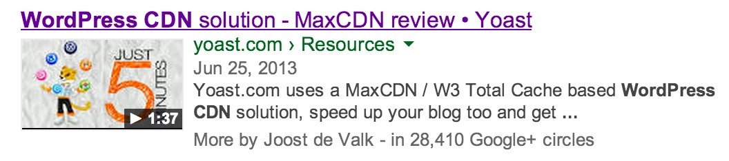 WordPress CDN - Video SEO result