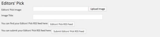 editors picks rss feed settings