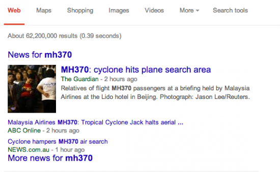 mh370 google search - news seo at work