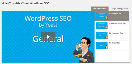 WordPress SEO tutorial videos as seen in the premium WordPress SEO plugin.