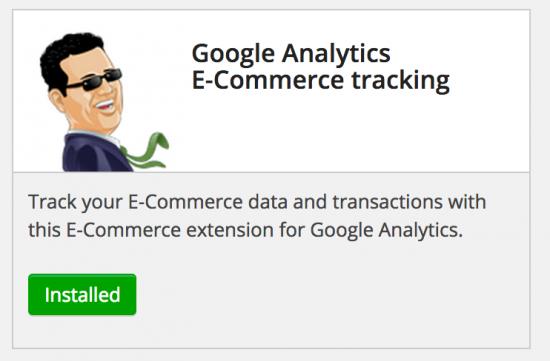 installed analytics ecommerce tracking
