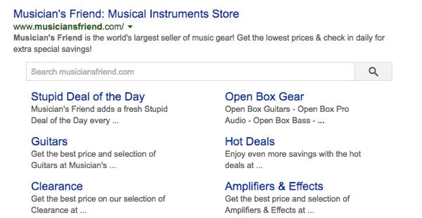 Google sitelinks searchbox