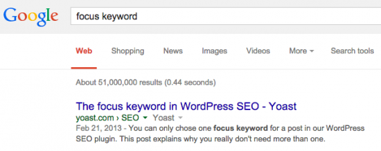 "a search for ""focus keyword"" in Google"