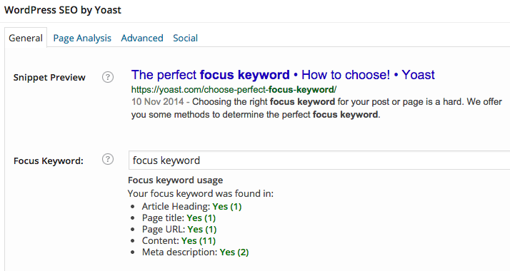 A screenshot of the focus keyword being entered in the WordPress SEO plugin