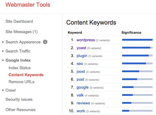 Webmaster Tools Content Keywords