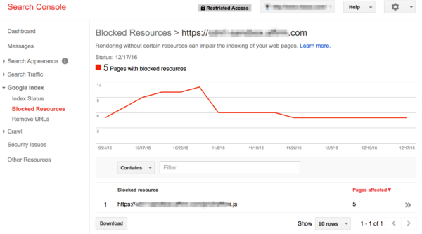 Search Console - Blocked Resources example | Don't block CSS and JS files