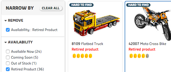 Internal Search for Webshops: LEGO Retired Product