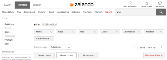 Internal Search for Webshops: Zalando filter options