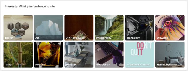 Pinterest Analytics: Interests