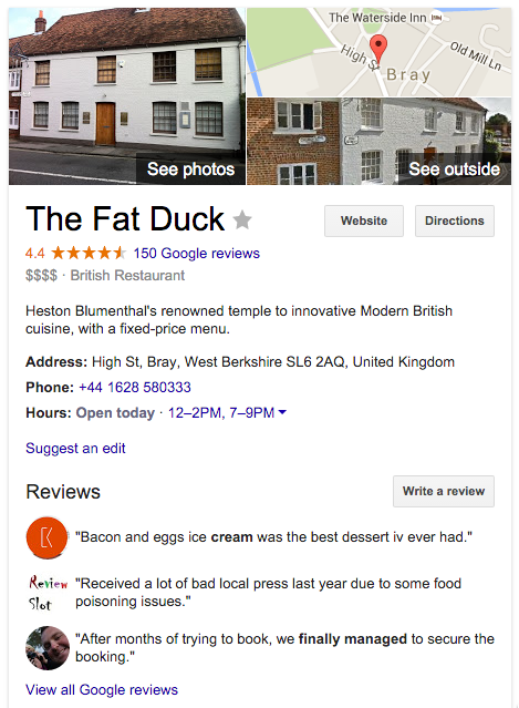 Restaurant website: Restaurant listing in knowledge graph example