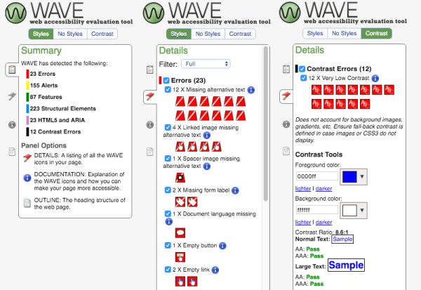 WAVE accessibility test - chrome extension