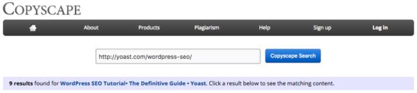 CopyScape: duplicate content checker