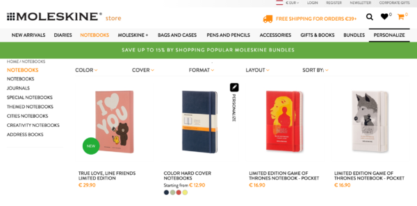 Shop category page: moleskine category