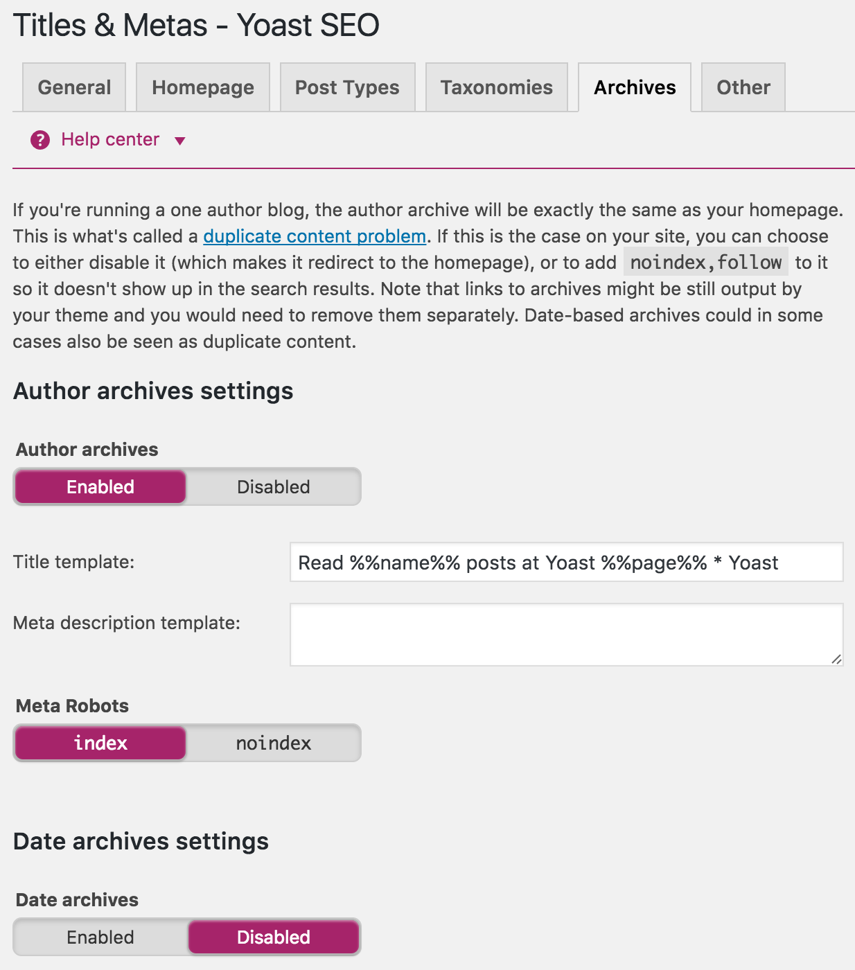 archives in yoast seo