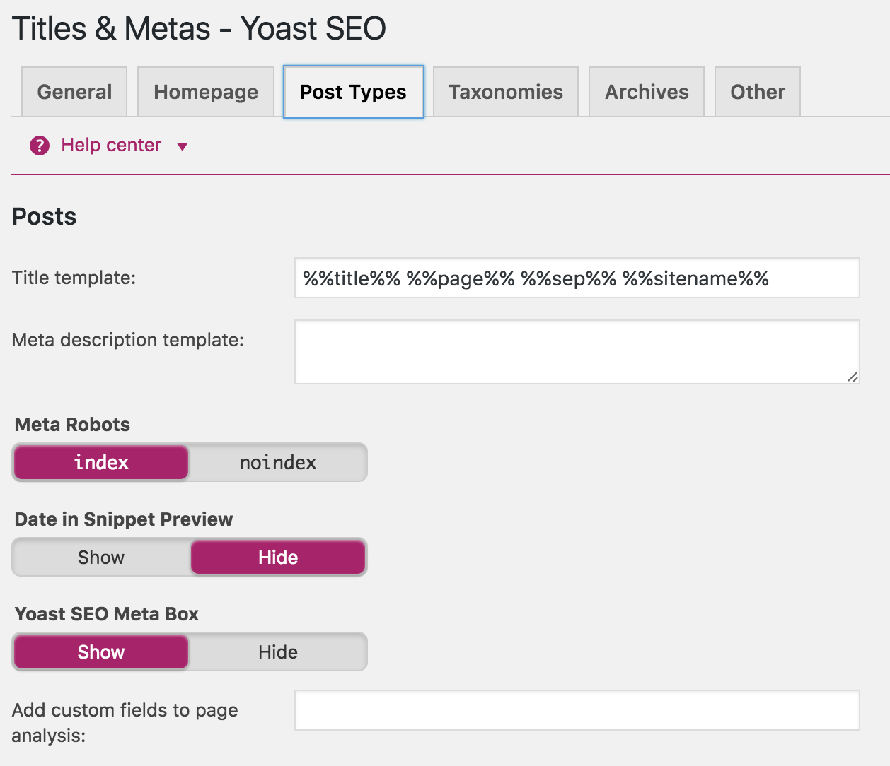 post types in yoast seo