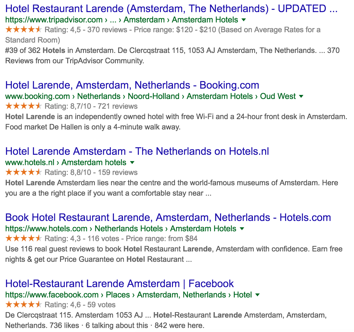 ratings and reviews hotel in serp