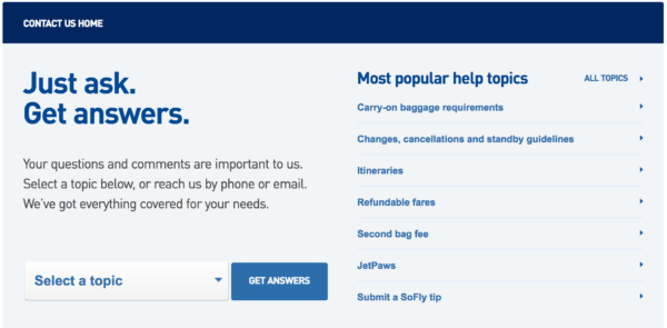Contact page examples: Jetblue