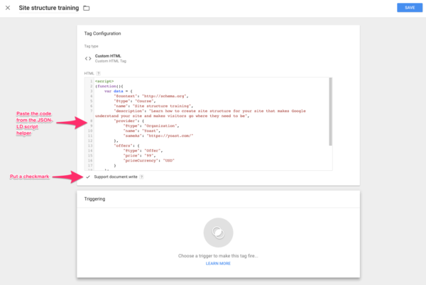 google tag manager structured data tag configuration