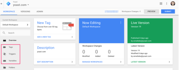 google tag manager structured data workspace