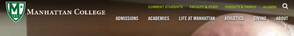 Website menu: Manhattan College