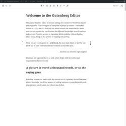 Gutenberg mockup - distraction free mode